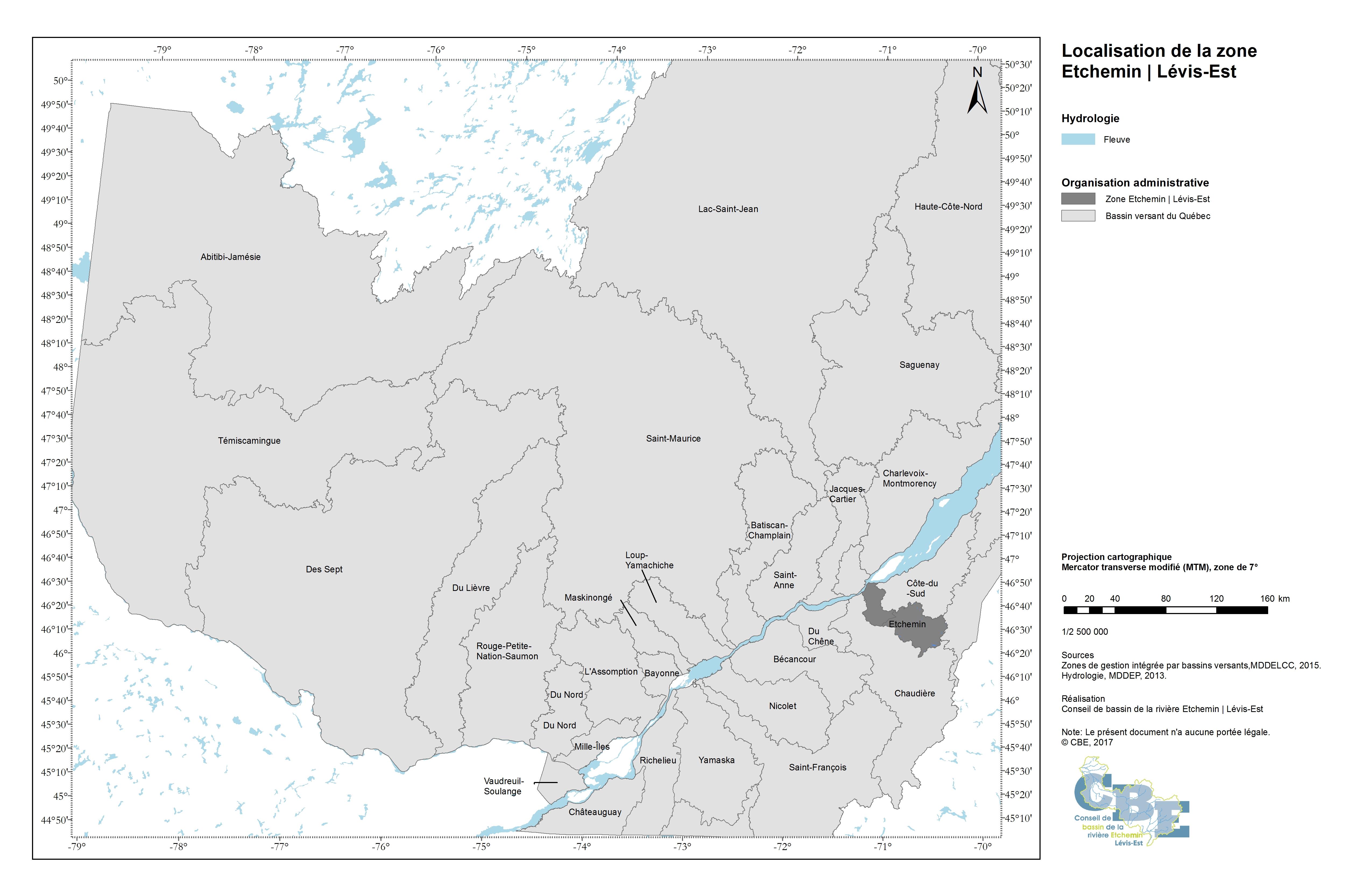 Localisation de la zone Etchemin | Lévis-Est