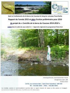 Suivi et traitements de la berce du Caucase le long du ruisseau Fourchette Rapport de l'année 2015 et plan d'action préliminaire pour 2016 du projet de « Contrôle de la berce du Caucase 2014-2018 »